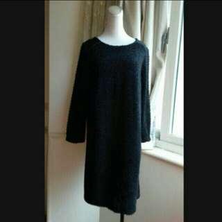 全新 精品品牌 ELLE 珍珠毛呢 優雅直筒洋裝