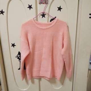 粉橘色 軟綿綿 厚實毛衣