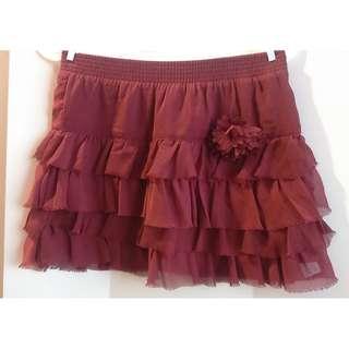 Zara Kid暗紅色蛋糕裙