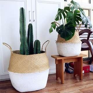 Basket Dipped White / Storage Holder for Plant Pot / Bag Home Decor