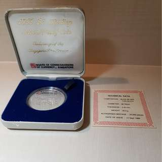 1988 - $5 Silver Proof Coin Singapore Fire Service Centenary