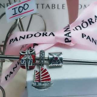 Pandora set charms of 3pcs.