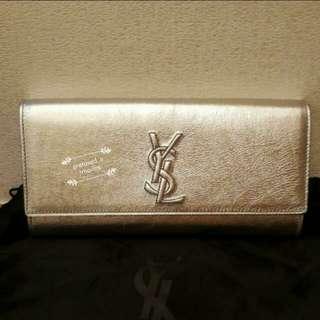 YSL/ Saint Laurent Silver Leather Clutch