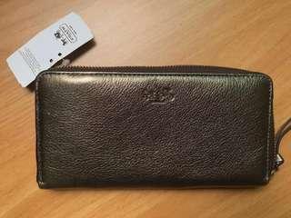 Coach Metallic Leather Accordion Zip wallet (NEW)