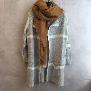 歐系-厚針織外套-大格紋保暖毛料外套