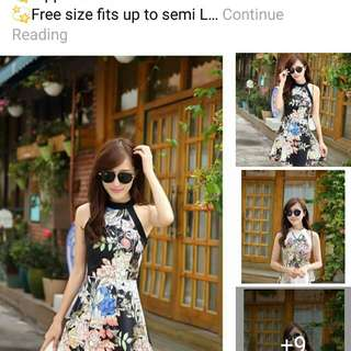 Online Sale: P350 only !!!  💋3D Floral Halter-neck Elegant Dress 💫Air cotton fabric, thick, stretch 💫Halter-neck design  💫Zipper back  💫Free size fits up to semi L 💫2 colors  💫Good quality