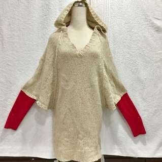 歐購全新少見俏麗可愛粗編織款米色底+小小多彩點點連帽6分寬袖外罩長上衣