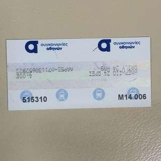 希臘雅典地鐵一日車票