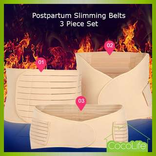 1 Set of 3 Piece Postpartum Slimming Belts in Beige [Local stock] [Free Delivery via Normal Mail]