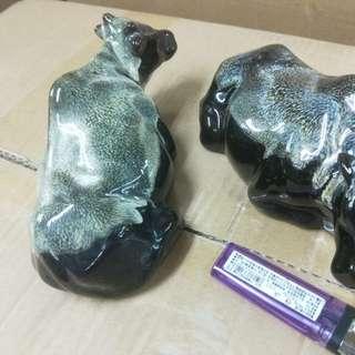 臺灣精品 早期柴燒外銷 歐美  柴燒 晶釉 扭轉乾坤 二隻