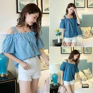 ➡Korean maong off shoulder ➡korean clothing ➡free size small to large frame