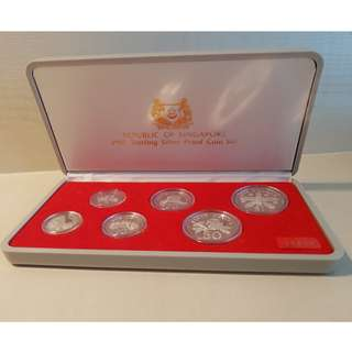 Singapore BCCS 1985 sterling silver proof uncirculated coin set $1 - 1 cent.