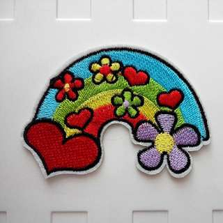 Hippie Love Flower Rainbow Hipster Craft Iron On Patch
