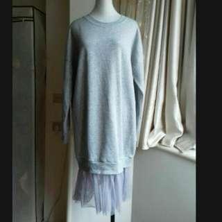 長版 內刷毛 純棉 T桖 網裙洋裝