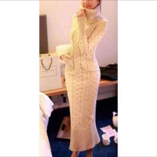 毛線 針織 開衩 麻花長洋裝 連身裙