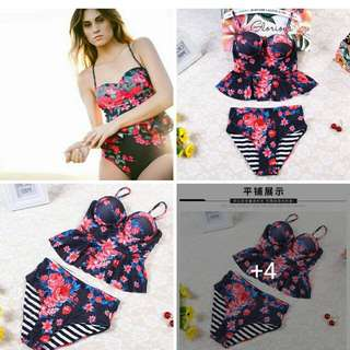 Online Sale: P380 only !!!  💋Floral 2 in 1 Swimsuit  💫Real swimsuit with padding  💫Spandex blend cotton, stretch  💫3D floral print  💫Free size fits up to semi L 💫Single color  💫Good quality