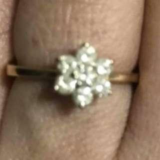 18k earrings and ring w/diamond