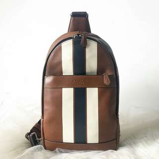 Coach Charles Varsity Leather Sling Pack sz 20x33
