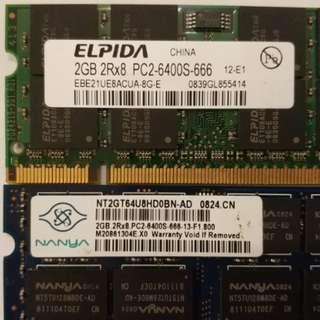 DDR2 2G Notebook RAM x 2