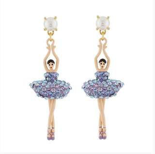 Les Nereides TOE-DANCING BALLERINA PAVED WITH AURORA BUBBLE CRYSTALS EARRINGS