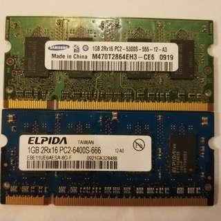 DDR2 1G x 2 Notebook ram