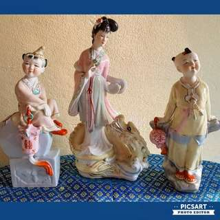 Vintage Chinese Porcelain figurines of Beautiful  Ancient Chinese Fairies. Dimensions in photos. Good condition, no chip no crack. All 3pcs for $128 Clearance offer. Big, not small. Sms 96337309 for fast deal.
