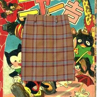 (免運)附皮帶復古女伶格紋直筒裙