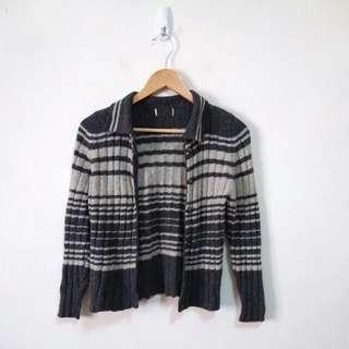 混羔羊毛條紋針織外套