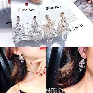 韓國春夏新款/透明切面水晶串長款耳環 2色
