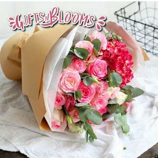 Fresh Flower Bouquet Anniversary Birthday Flower Gifts Graduation Roses Sunfowers Baby Breath -  2B4A8