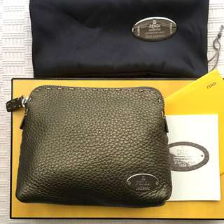 """Fendi  """"Selleria"""" leather cosmetic bag / pouch bag  ###Made in Italy"""