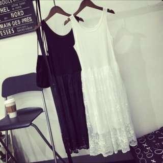 蕾絲內搭背心裙 只有一件 全新 黑色