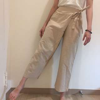 O.ni 米色麻褲