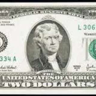 2 dollar note