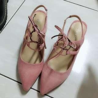 韓版麂皮尖頭綁帶粗跟鞋