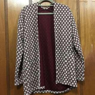 格紋針織外套