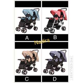 🔥 Orders Now Open! BNIB Tandem Twin Stroller (King Baby)