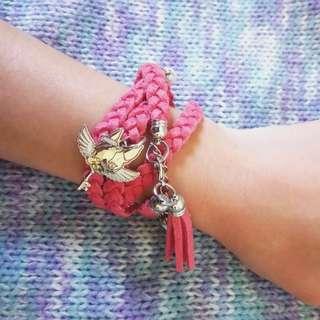 Crystal Ball 狗頭包鑰匙星星珍珠天使編織手環