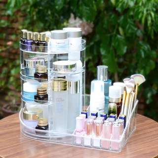 360 Rotating Makeup Organizer with Fixed Side