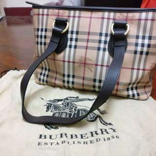Authentic Burberry Haymarket Check Medium Tote