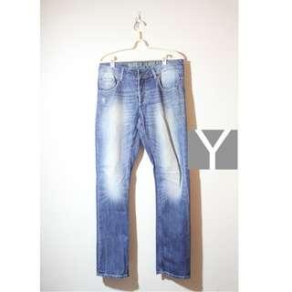 義大利 Garcia Jeans 藍色 牛仔褲 橘綠布耳 修身 直筒 仿舊刷白 古著 VINTAGE