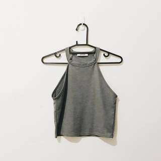 ZARA 削肩背心 上衣 購於匈牙利 無袖 背心 灰色 純棉