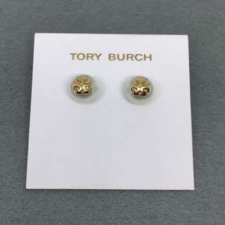Tory Burch Sample Earrings 金色配珍珠立體logo耳環