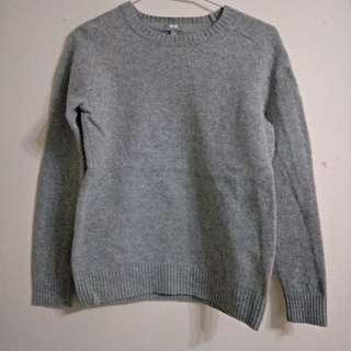 Uniqlo灰色羊毛針織長袖毛衣