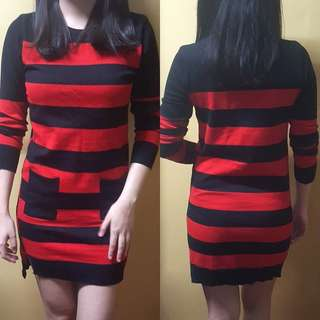 Red and black stripes dress
