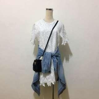 全新,約會喜宴皆可,超美型花朵織帶造型短袖洋裝,白