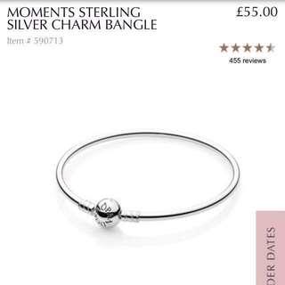 Pandora Moments Sterling Silver Charm Bangle