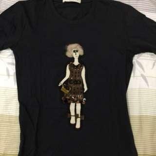 Prada 黑色立體人偶圖 T-shirt