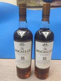 Macallan 18 (1996 台版平$100/及日版-兩支都冇盒)