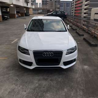 AUDI A4 1.8A WHITE FOR RENT (UBER/GC FRIENDLY/PERSONAL)